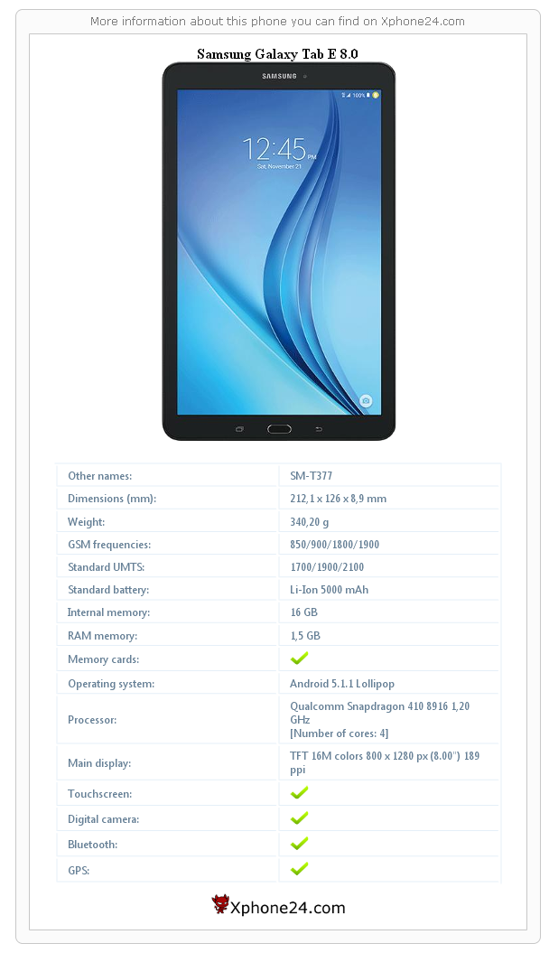 Samsung Galaxy Tab E 8 0 SM-T377 To your site :: Xphone24 com